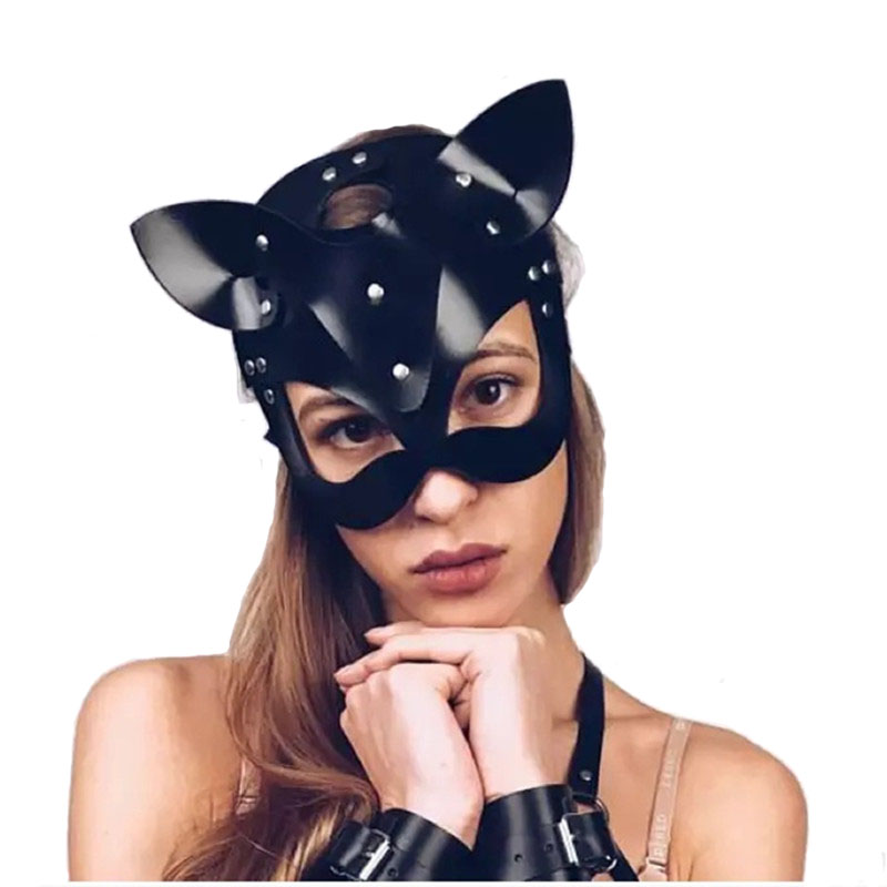 Sex Toys For Woman Erotic Mask Catwoman Half Mask Party Cosplay Sexy Costume Slave Props Latex SM Mask Adult Play Masks