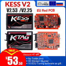 KESS v2 V5.017 V2.53 EU Red OBD 2 ECU Programming tool No Token limit KTAG V7.020 4 LED Master Version car truck chip Tuning Kit