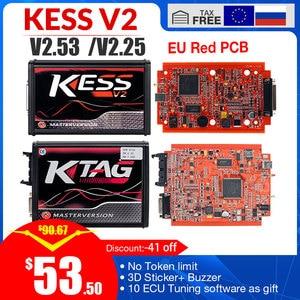 Image 1 - KESS v2 V5.017 V2.53 EU Red OBD 2 ECU Programming tool No Token limit KTAG V7.020 4 LED Master Version car truck chip Tuning Kit
