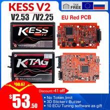 KESS v2 V5.017 V2.53 ue czerwona OBD 2 narzędzie do programowania ECU bez limitu tokena KTAG V7.020 4 LED wersja główna samochodów ciężarówka chip Tuning zestaw