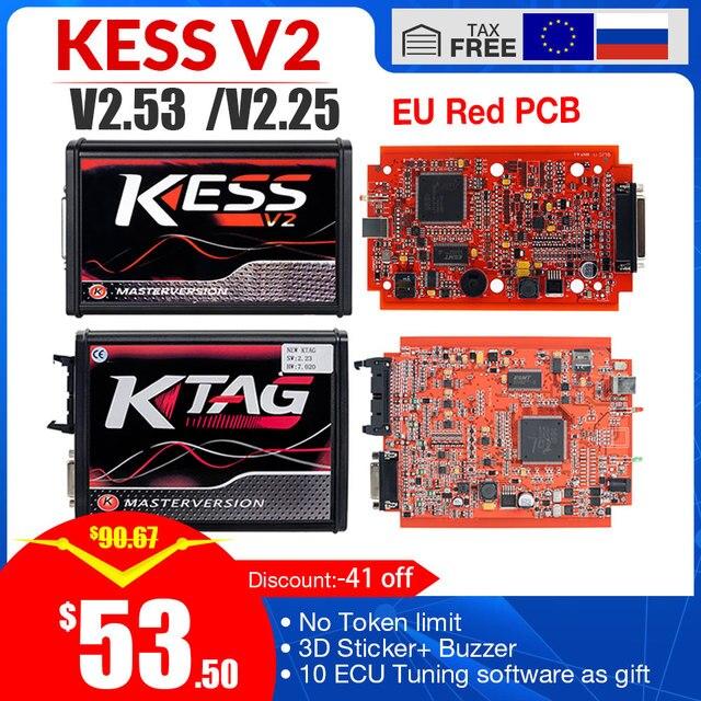 Kess V2 V5.017 V2.53 Eu Rode Obd 2 Ecu Programmering Tool Geen Token Limiet Ktag V7.020 4 Led Master Versie auto Truck Chip Tuning Kit