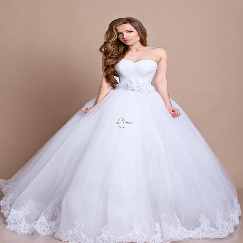 Beautiful Sweetheart Lace A Line Wedding-Dresses White Ivory Organza Wedding-Dresses Fishtail Vestido De Noiva Court Train