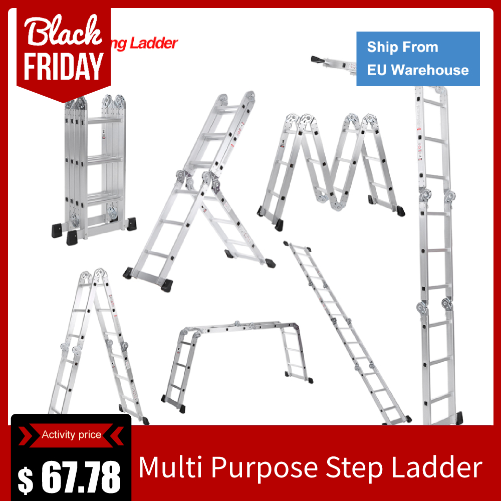 7 in 1 Multi Purpose Step Ladder Aluminum Folding Telescoping Ladder Work Platform Scaffold With Locking Hinge