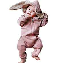 Cute Rabbit Ear Hooded Baby Rompers For Babies