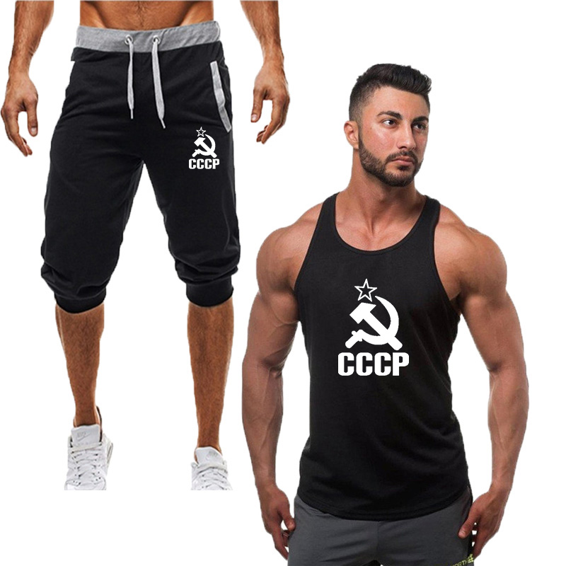 Men Summer Casual Shorts Men Brand New Board Shorts 2019 Fashion Casual Hot-Selling New Man's Vest Suit+gym Shorts