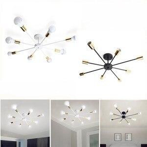 Image 3 - Smuxi 85 265 v E27 シャンデリアライトヴィンテージ工業エジソン 8 灯シャンデリア器具黒、白別売電球