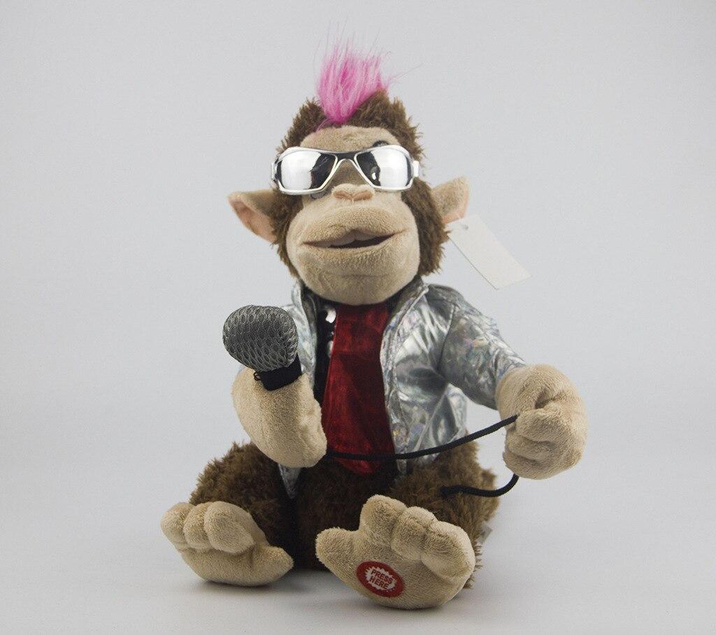 Electric Plush Toys Creative Doll Take Microphone Singing Karaoke Monkey Funny Toy