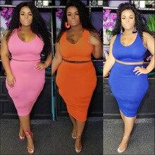 Outfits Skirt-Sets Pink Plus-Size Women Conjuntos Two-Piece 2pcs