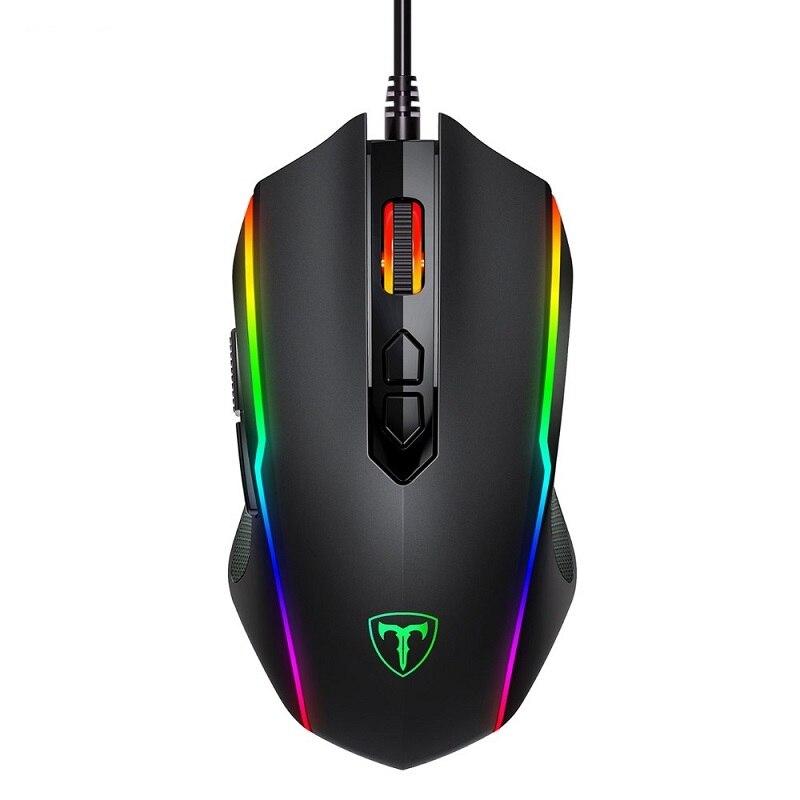 VicTsing Проводная RGB игровая мышь 8 программируемых кнопок 7200 dpi Регулируемая оптическая игровая мышь эргономичная мышь с кнопкой огня - Цвет: black