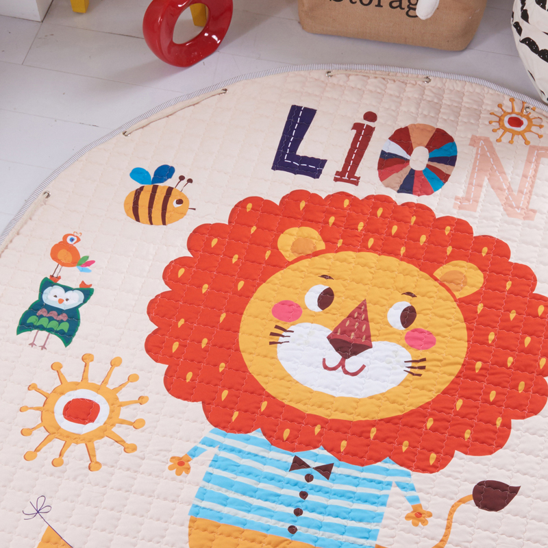 Hc463773c63a947a482685196998fe2e8P Kid Soft Carpet Rugs Cartoon Animals Fox Baby Play Mats Child Crawling Blanket Carpet Toys Storage Bag Kids Room Decoration