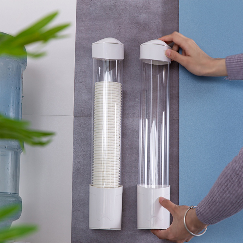 Wall Mount Disposable Cups Dispenser Plastic Paper Cups Holder Dust-proof Dispenser Automatic Punch Free Drinking Accessory