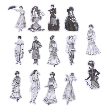 14/22Pcs/Pack Vintage European Ladies/Tickets Old Peper Stickers DIY Scrapbooking Label Diary Sticker Retro Character Stickers image