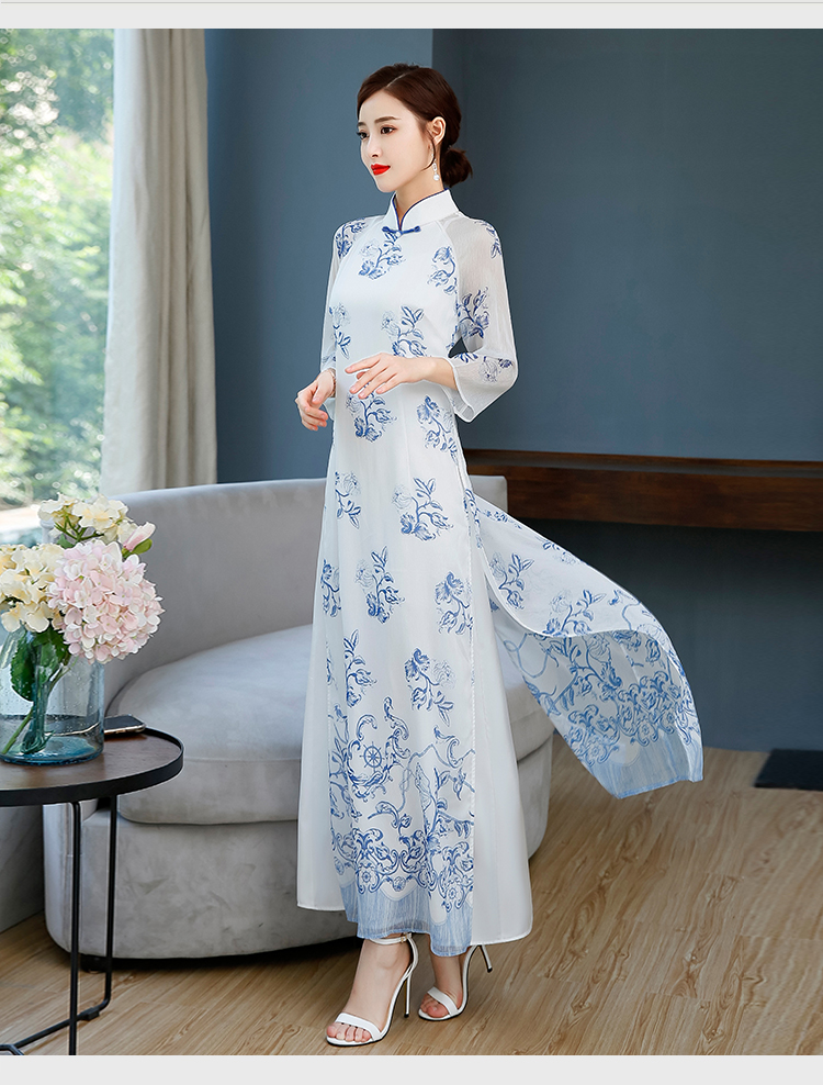 Long Sleeve Vietnam Ao Dai Asian Chiffon Dress For Women