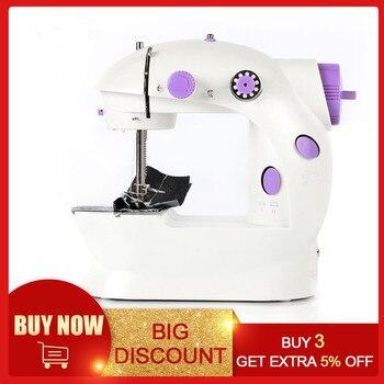Mini máquina de coser eléctrica para máquina de coser casera para coser 110/220V ajuste de velocidad con máquina de coser de mano ligera