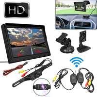 5 zoll TFT LCD HD Bildschirm Auto Monitor 2 Weg Video Eingang 800*480 12V Rückansicht Monitor + Wireless Parkplatz Nachtsicht Kamera Kit