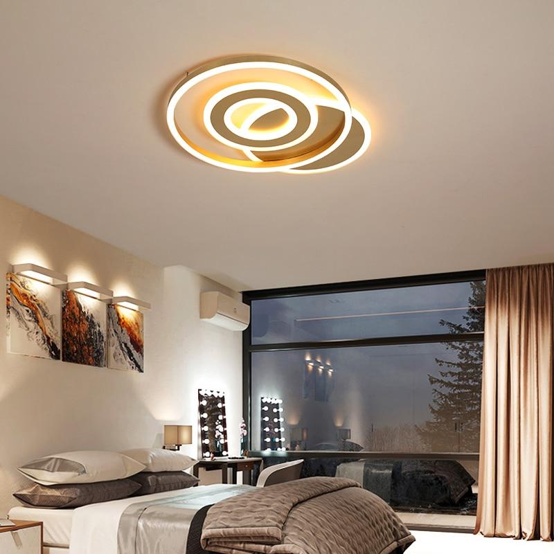 Gold color modern Led ceiling lights for foyer rectangle plafonnier led surface mounted ceiling lamp 110V-220V lamparas de techo
