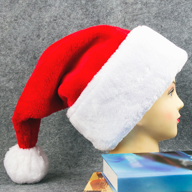 Short Plush Christmas Santa Hat Thickened Luxury Short Plush Christmas Hat Thickened Lengthened Santa Claus Cap Xmas Hat Y5