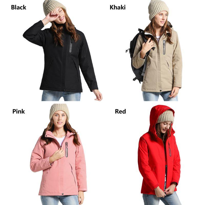 Women Winter USB Heating Cotton Jacket Outdoor Waterproof Windbreaker Thick Coat