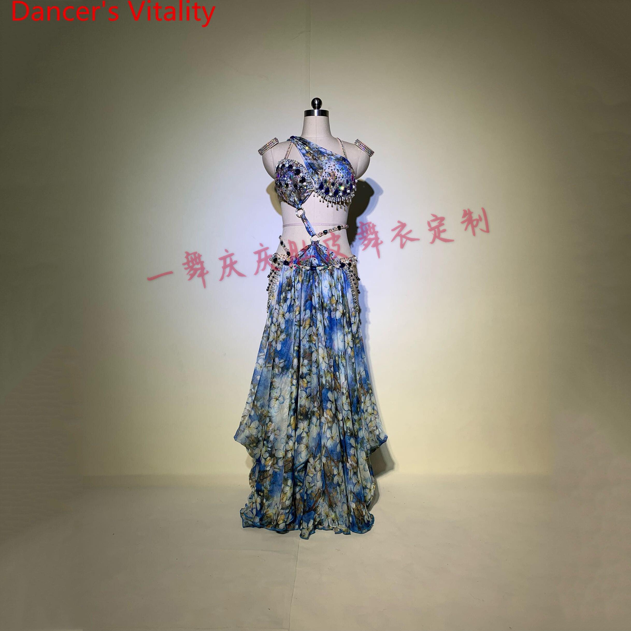 Customized Lady Belly Dance Ribbon Bra Glitter Diamond Skirt Women Oriental Indian Drum Dance Group Competition Stage Wear Set