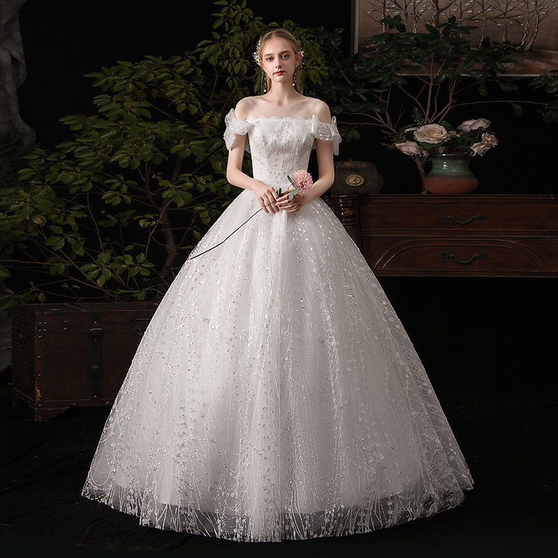 Mrs Win Wedding Dress 2020 New Elegant Boat Neck Ball Gown Princess Luxury Lace Embroidery Bling Bling Wedding Dreses K623