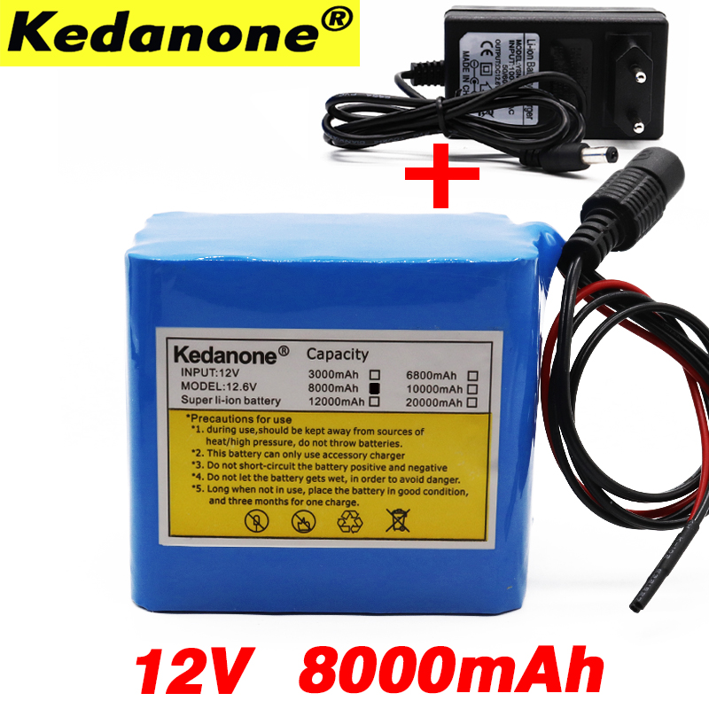 Kedanone <font><b>12V</b></font> <font><b>Battery</b></font> 3S4P 11.1V/12.6V <font><b>8Ah</b></font> 18650 Lithium Ion <font><b>Battery</b></font> Pack with 25A Balanced BMS for LED Lamp Light Backup Power image