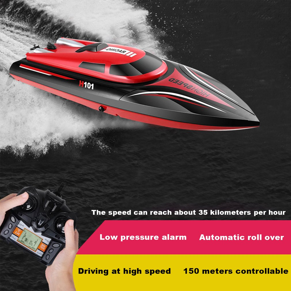 RC Boat High Speed Racing Boat Model  2.4g 150m Remote Control Distance 30km/h Mode Switch Self Righting Rc Boat Toys child Gift