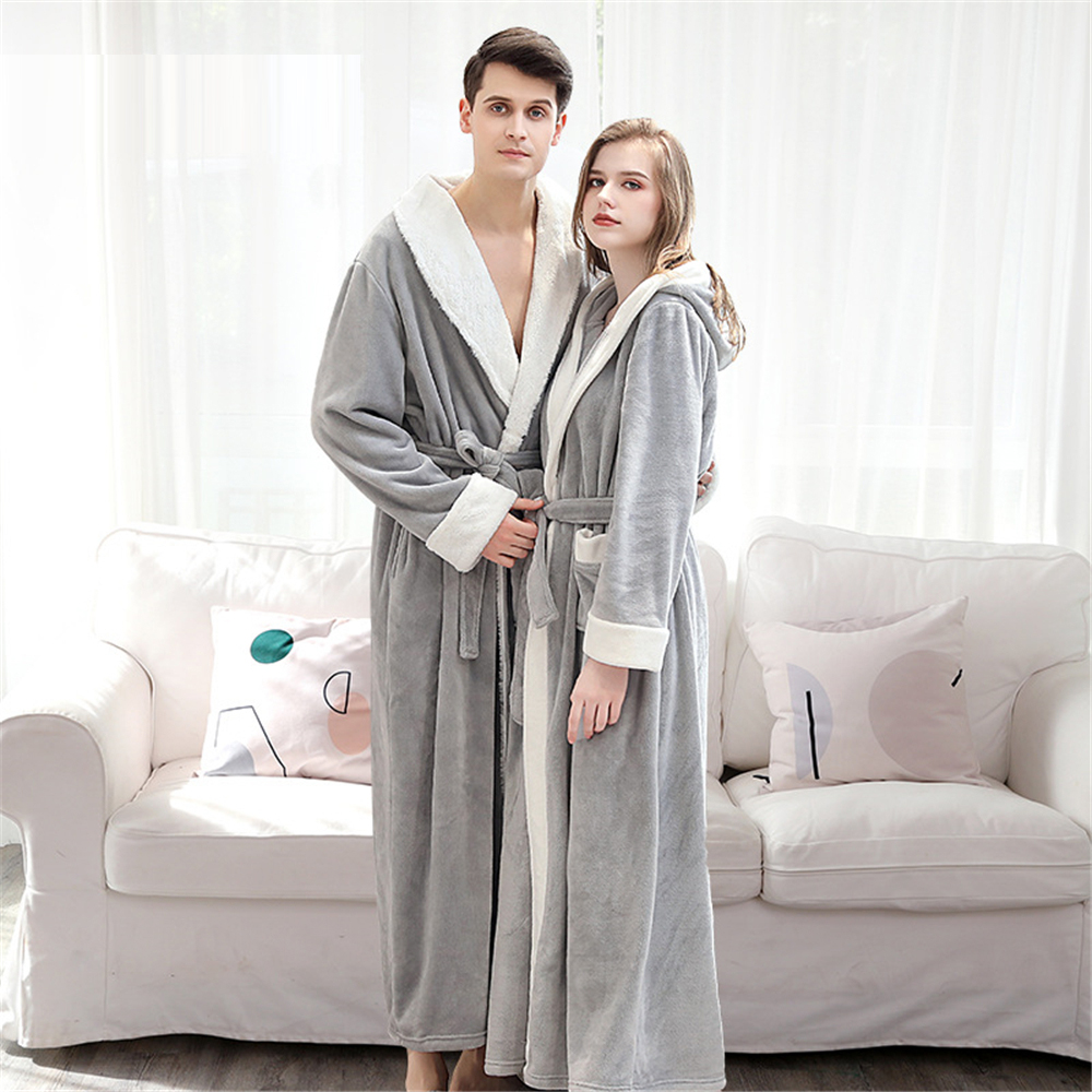 Women Winter Bathrobe Noble Couple Warm Thick Flannel Velvet Robes Roupao Feminino Loose Soft Homewear With Waistband Sleepwear