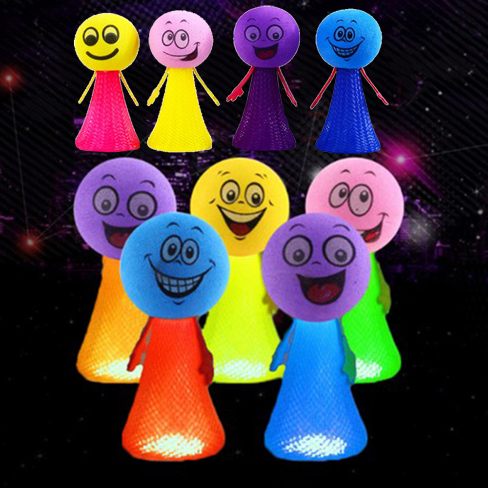Glow In The Dark Cartoon Bouncing Elf Expression Doll Kids Creative Novelty Gags Practical Jokes Party Game Toys For Children