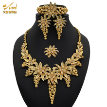 Necklace-Sets Accessories Bracelet Bridal-Jewelery-Set Indian-Rings Dubai Gold Wedding