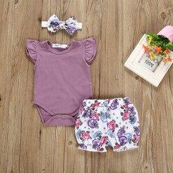 Однотонный комбинезон для новорожденных девочек + шорты с цветочным принтом, модная одежда для маленьких девочек, комплекты для малышей