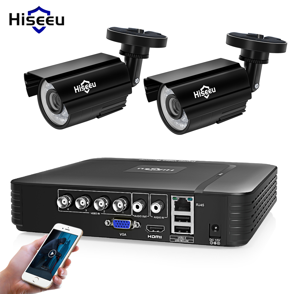 Hiseeu 4CH DVR CCTV-systeem 2ST-camera's 2CH 1.0 MP IR Outdoor Bewakingscamera 720P HDMI AHD CCTV DVR 1200 TVL Surveillance Kit