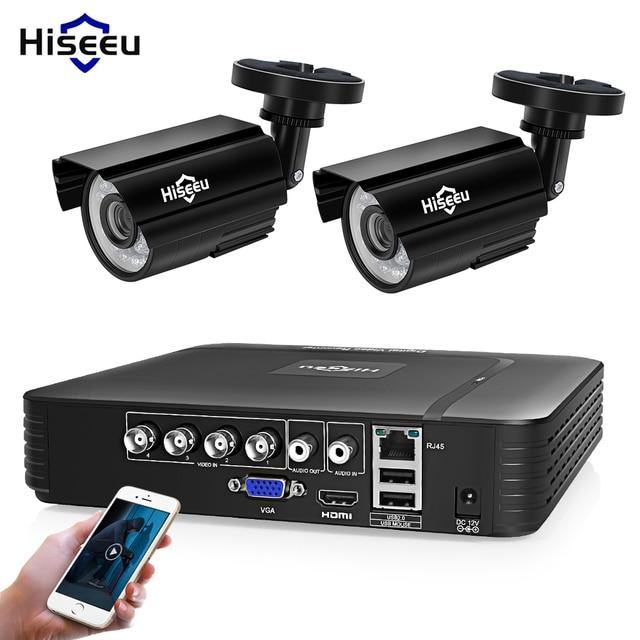 Hiseeu 4CH DVR CCTV System 2PCS Cameras 2CH 2MP IR Outdoor Security Camera 720P 1080P AHD CCTV DVR 1200 TVL Surveillance Kit