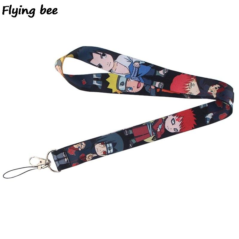Flyingbee Anime Boy  Lanyard Phone Rope Keychains Phone Lanyard For Keys ID Card Cartoon Lanyards For Men Women X0399