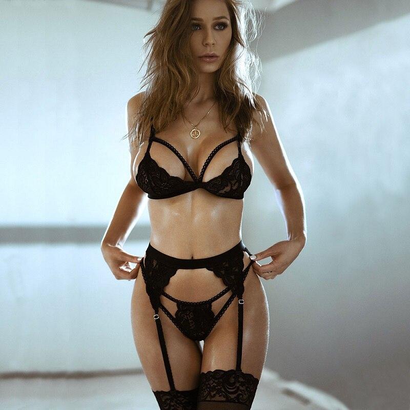 Hot Sexy Bra Set Women Garters Mesh Bandage Push Up Lingerie Bralette Wire Free Bras Seamless Thong Panties Underwear