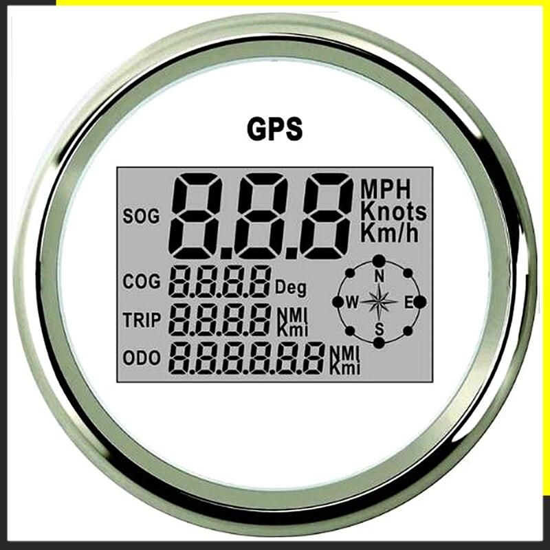 Digitale Tachimetro Auto GPS Contachilometri 85 millimetri 0-999 nodi km/h mph 12 V/24 V con Retroilluminazione Yacht Nave Moto Barca Auto