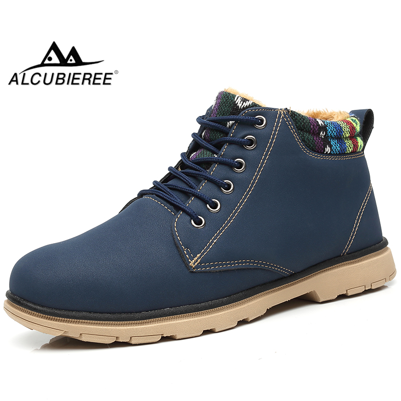 ALCUBIEREE Brand Men Snow Boots With Fur Man Winter Lightweight Ankle Warm Boot Shoes For Male Casual Lace-up Sneakers Footwear