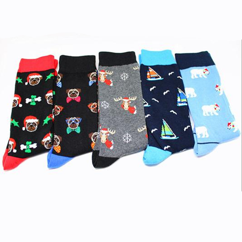 Cartoon Christmas Series Print Sock Dog Milu Deer Snowflake Sailboat Polar Bear Cute Fun Men Cotton Sock Fashion Autumn Winter