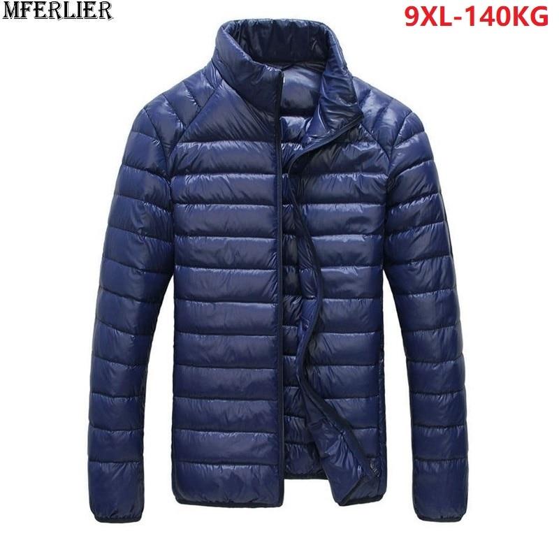 MFERLIER Autumn Plus Size Men Parkas 8XL Thin Long Sleeve Large Size Down Jackets 8XL 9XL Stand Collar Casual Duck Down Parkas