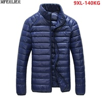 MFERLIER autumn plus size Men Parkas 8XL thin long sleeve large size down Jackets 8XL 9XL Stand Collar casual duck Down parkas