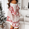 Christmas Snowflake Elk Print Party Dress Winter Autumn Long Sleeve Mini Dress Women Elegant Off Shoulder Knit Sweater Dress 3