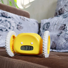 2020 novo despertador com bonito run moving wheels digital lcd para casa crianças criança despertador sono treinamento
