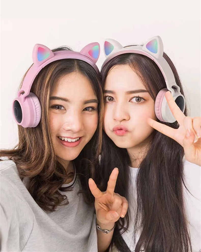 Girl Cute Led Bluetooth 5 0 Wireless Cat Ear Headphones Folded Cosplay Cat Super Bass Gaming Headset For Music With Microphones Aliexpress