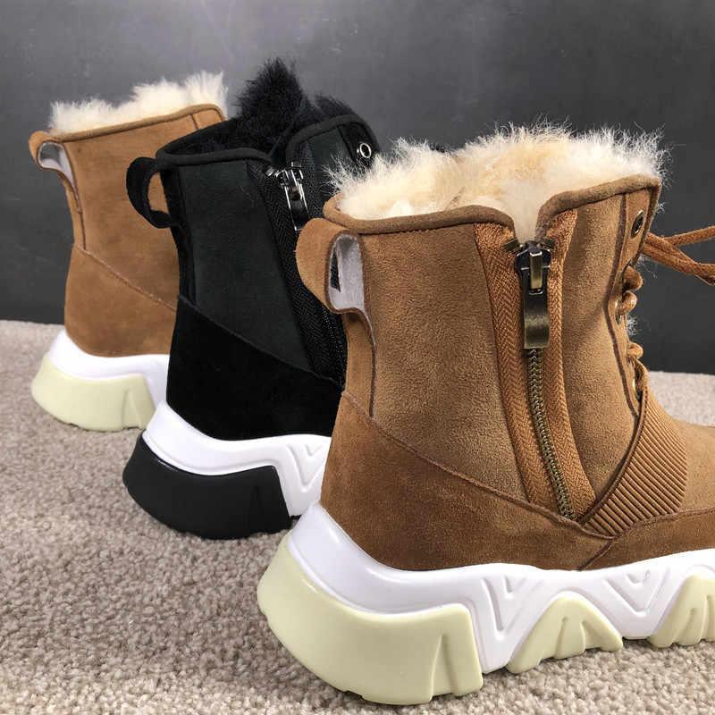 Kış Shearling Botas Mujer kar botları kadın platformu yarım çizmeler bağcıklı ayakkabı kadın Botas Feminina rahat Chaussures Femme