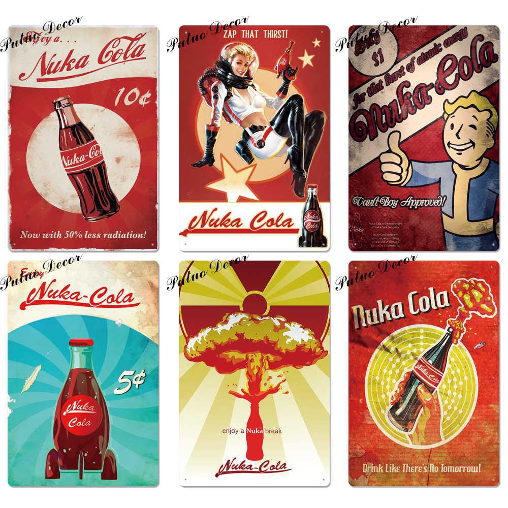Nuka Cola metalowy znak Vintage znak puszka plakietka metalowa Vintage Pub Retro ściana wystrój dla baru Pub Club Man jaskinia metalowa plakaty