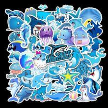 50pcs Blue Ocean Cartoon Animals Cute Waterproof Personality Guitar Skateboard Luggage Graffiti Stickers Custom