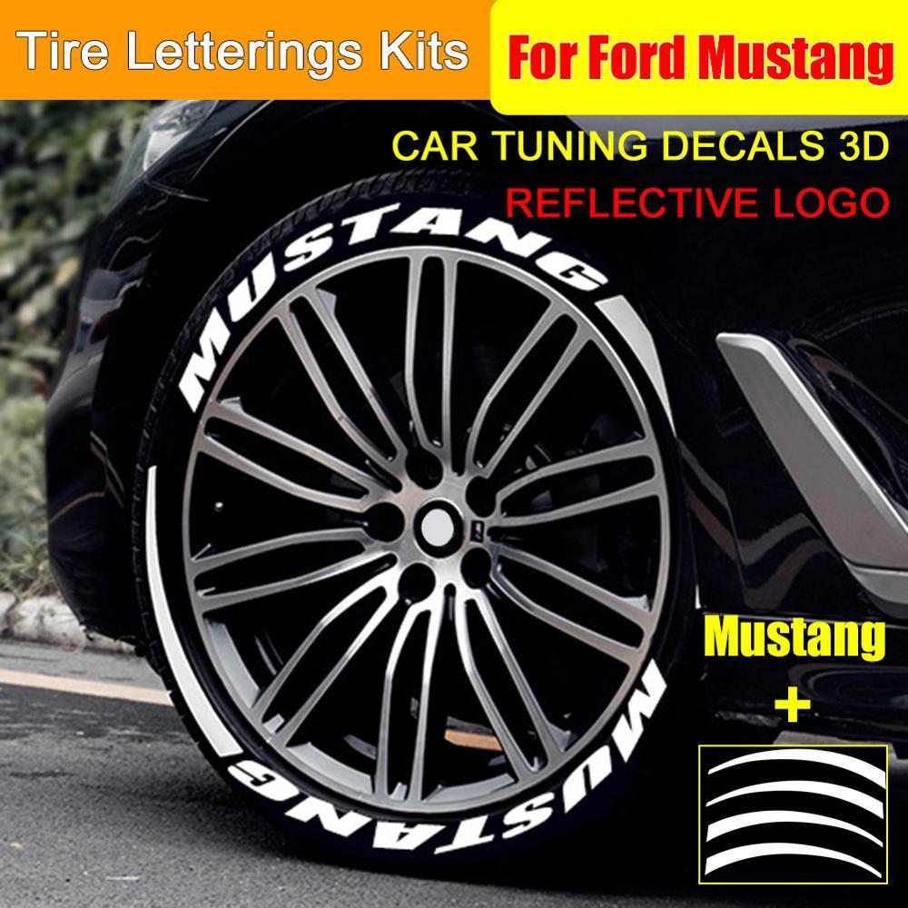 Konren Car Reflective Wheel Hub Sticker Tuning Decals 3D Logo Universal Tire Letterings Kits Wheels Label DIY Styling for Ford Mustang