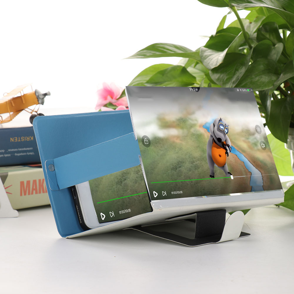 1PC 3D Phone Screen Magnifier Stereoscopic Amplifying Desktop Foldable Leather Bracket Mobile Holder Tablet Holder 19*12cm