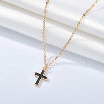Elegant Gold Cross Chain Necklace for Women Lady Wedding Party Jewelry Gifts Fashion Geometric Circular Female Pendant image