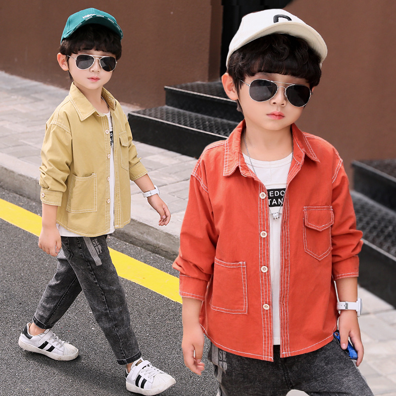 Fashion Child Korean-style Tops 2019 New Style BOY'S Western Style Autumn Clothing Baby Cotton Shirt Small CHILDREN'S Long Sleev