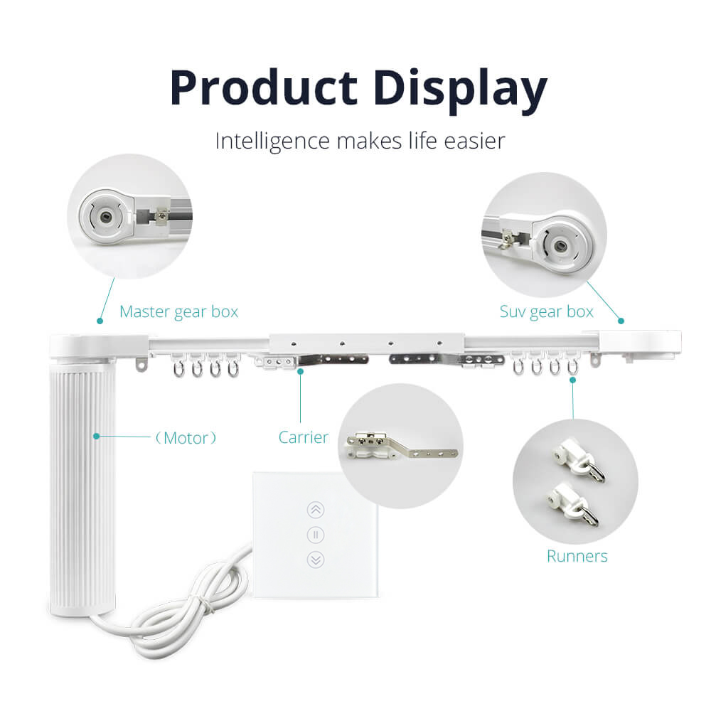 Image 5 - Intelligent House Motorized Smart Curtains With Curtain Track Rod Wall Switch Alexa Google Home tuya App Control-in Smart Remote Control from Consumer Electronics
